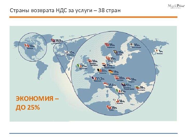 Страны возврата НДС за услуги – 38 стран ЭКОНОМИЯ – ДО 25%