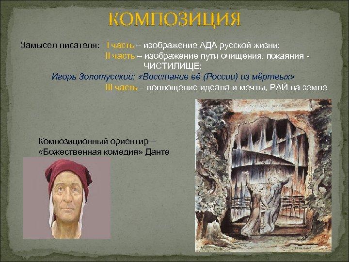 КОМПОЗИЦИЯ Замысел писателя: I часть – изображение АДА русской жизни; II часть – изображение