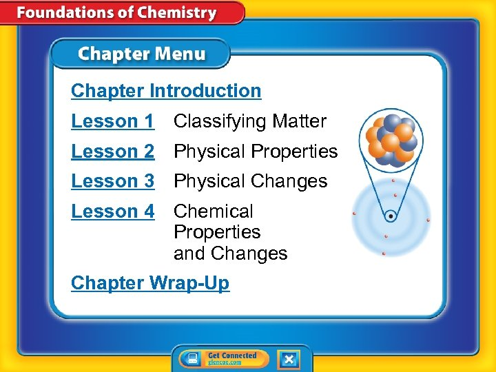 Chapter Introduction Lesson 1 Classifying Matter Lesson 2 Physical Properties Lesson 3 Physical Changes