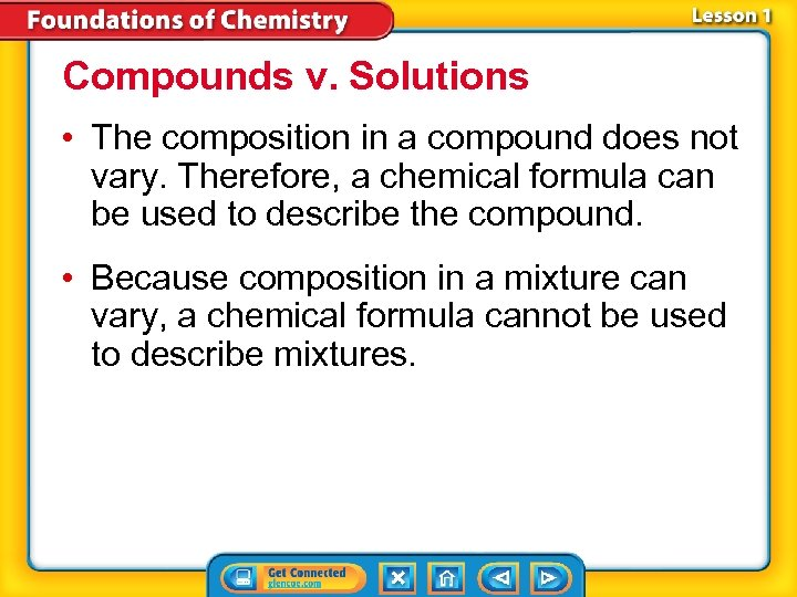 Compounds v. Solutions • The composition in a compound does not vary. Therefore, a