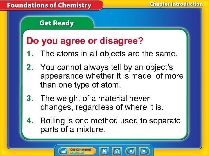 Do you agree or disagree? 1. The atoms in all objects are the same.