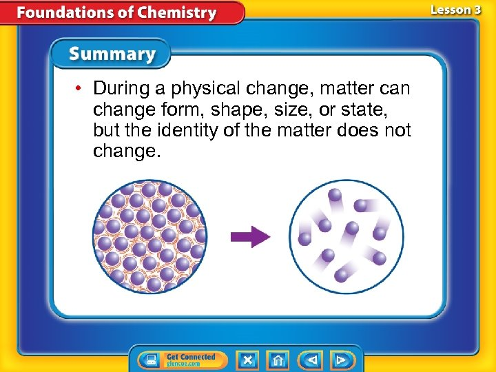 • During a physical change, matter can change form, shape, size, or state,