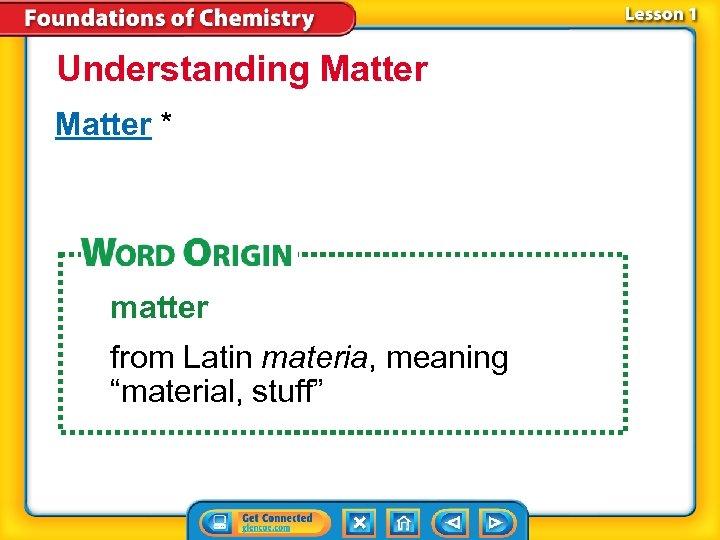 """Understanding Matter * matter from Latin materia, meaning """"material, stuff"""""""