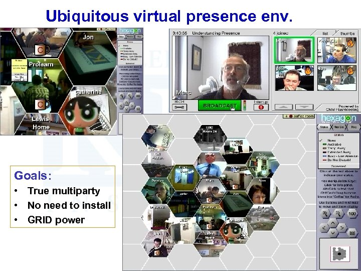 Ubiquitous virtual presence env. Goals: • True multiparty • No need to install •