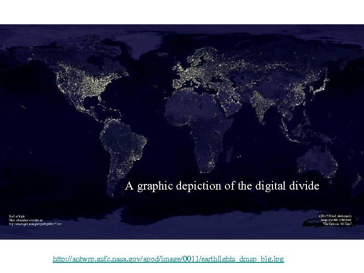 A graphic depiction of the digital divide http: //antwrp. gsfc. nasa. gov/apod/image/0011/earthlights_dmsp_big. jpg