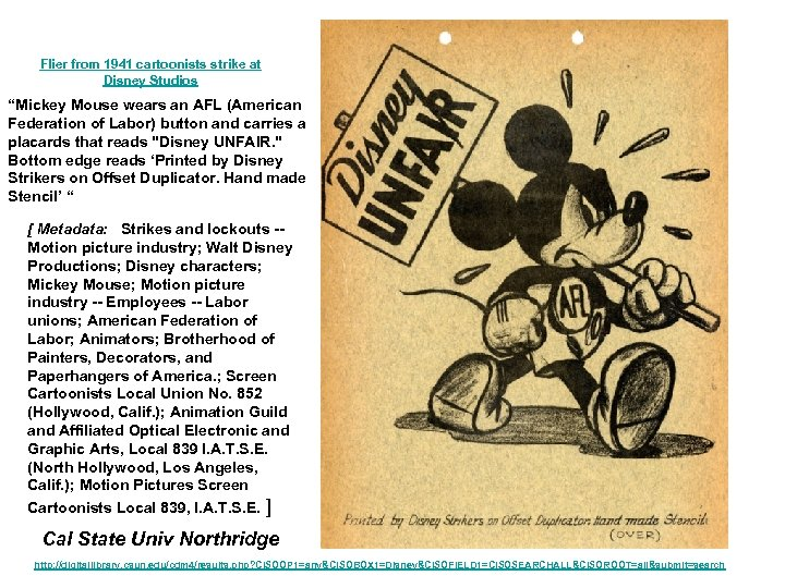 """Flier from 1941 cartoonists strike at Disney Studios """"Mickey Mouse wears an AFL (American"""