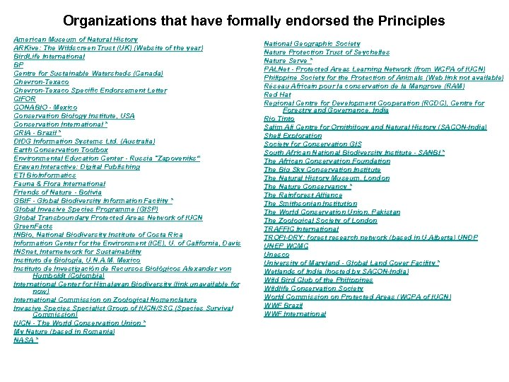 Organizations that have formally endorsed the Principles American Museum of Natural History ARKive: The