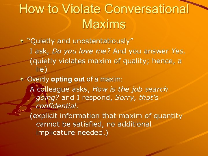 """How to Violate Conversational Maxims """"Quietly and unostentatiously"""" I ask, Do you love me?"""