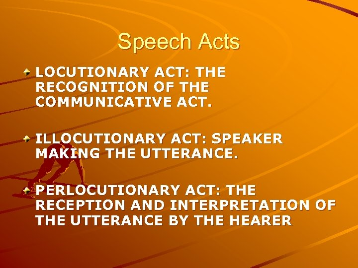 Speech Acts LOCUTIONARY ACT: THE RECOGNITION OF THE COMMUNICATIVE ACT. ILLOCUTIONARY ACT: SPEAKER MAKING