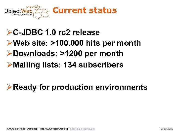 Current status C-JDBC 1. 0 rc 2 release Web site: >100. 000 hits per