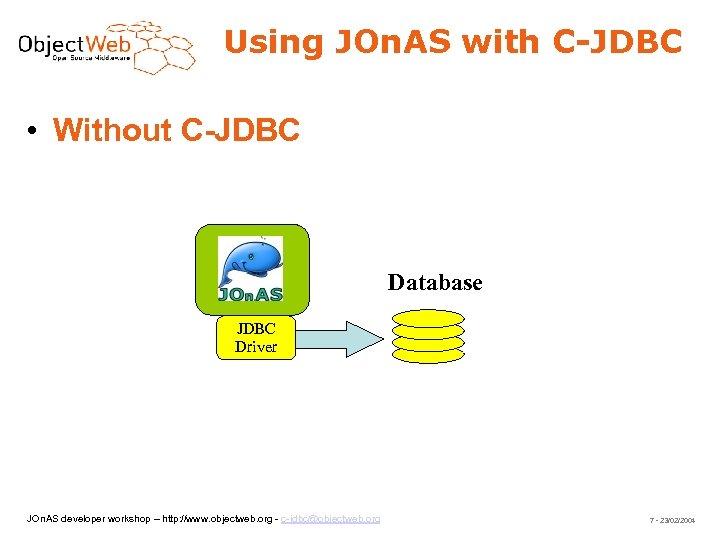 Using JOn. AS with C-JDBC • Without C-JDBC Database JDBC Driver JOn. AS developer