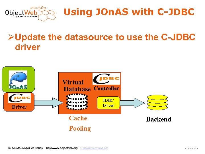 Using JOn. AS with C-JDBC Update the datasource to use the C-JDBC driver JOn.