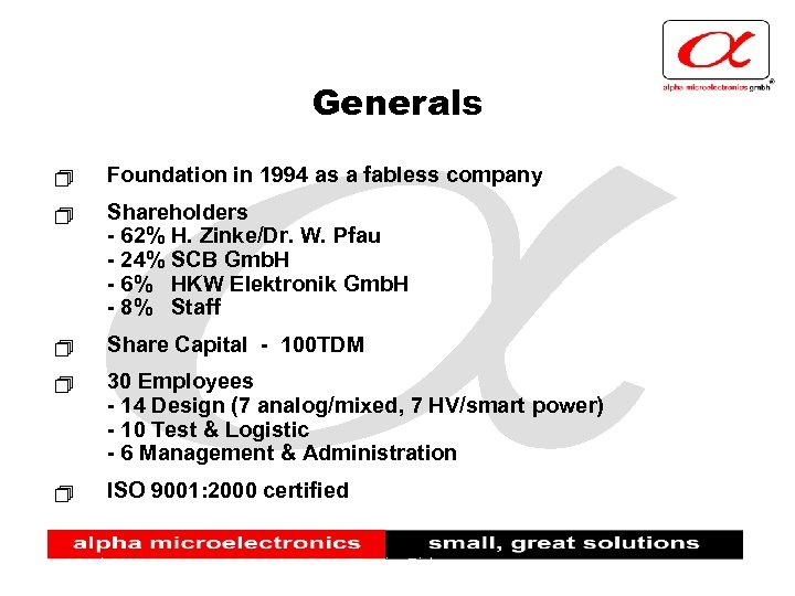 Generals + Foundation in 1994 as a fabless company + Shareholders - 62% H.