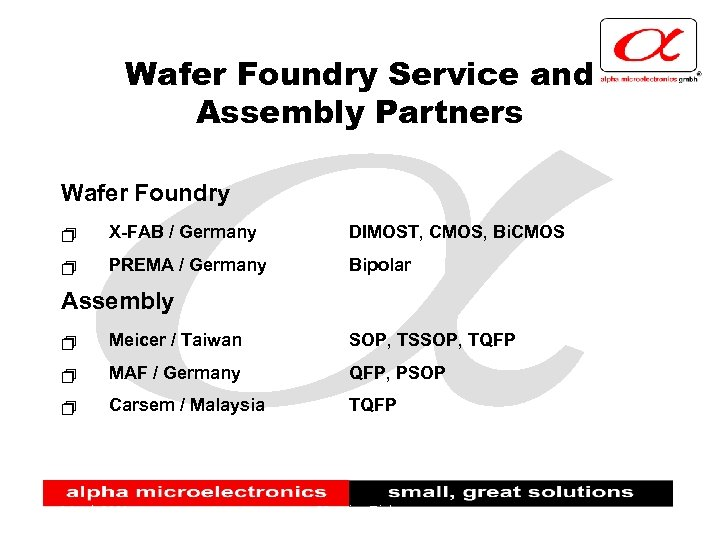Wafer Foundry Service and Assembly Partners Wafer Foundry + X-FAB / Germany DIMOST, CMOS,