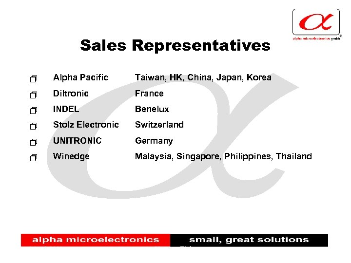 Sales Representatives + Alpha Pacific Taiwan, HK, China, Japan, Korea + Diltronic France +