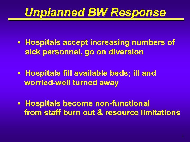Unplanned BW Response • Hospitals accept increasing numbers of sick personnel, go on diversion