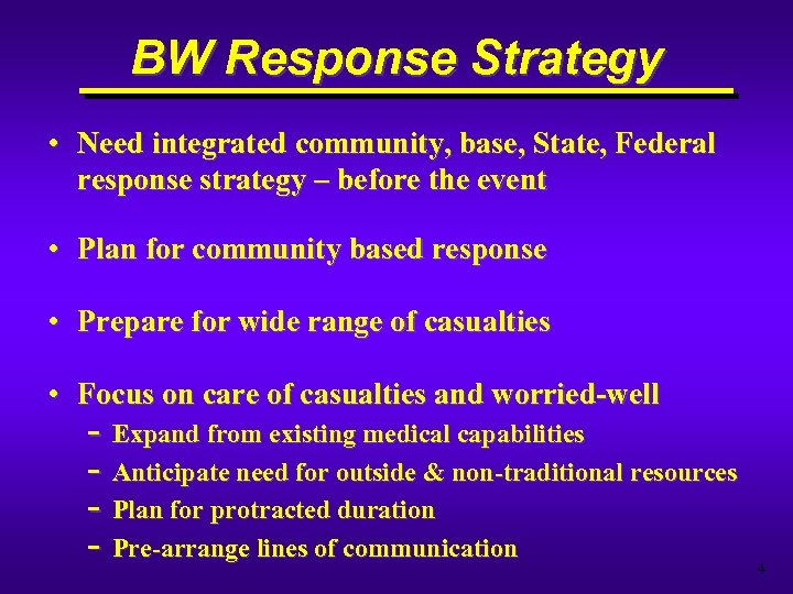 BW Response Strategy • Need integrated community, base, State, Federal response strategy – before