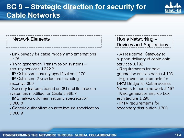 SG 9 – Strategic direction for security for Cable Networks Network Elements - Link