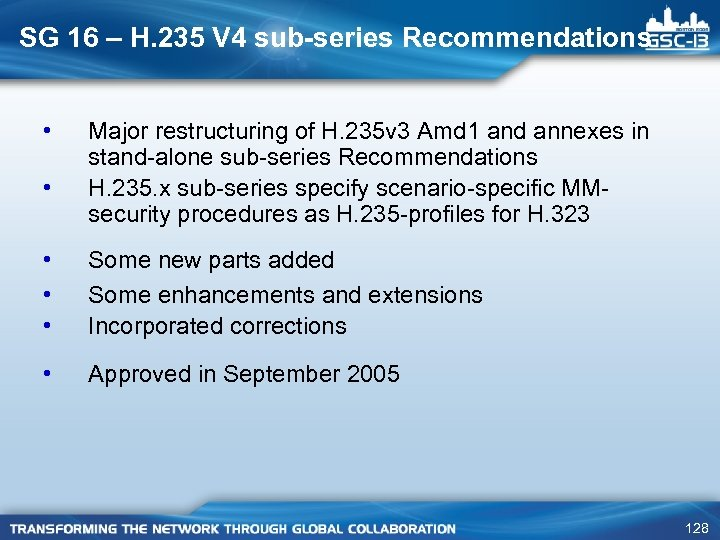 SG 16 – H. 235 V 4 sub-series Recommendations • • Major restructuring of