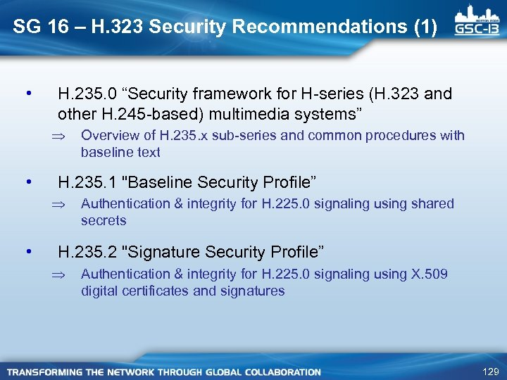 """SG 16 – H. 323 Security Recommendations (1) • H. 235. 0 """"Security framework"""