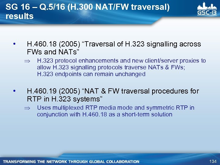 SG 16 – Q. 5/16 (H. 300 NAT/FW traversal) results • H. 460. 18
