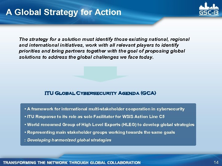 A Global Strategy for Action The strategy for a solution must identify those existing