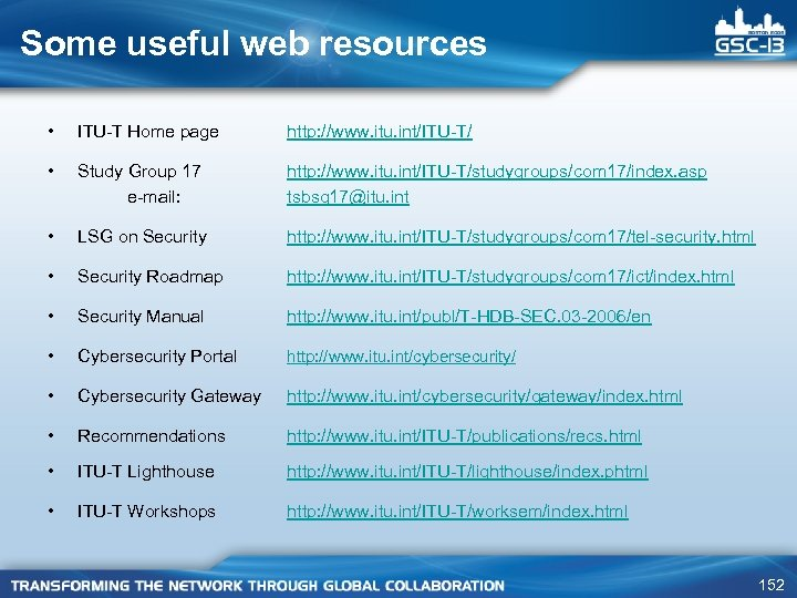 Some useful web resources • ITU-T Home page http: //www. itu. int/ITU-T/ • Study