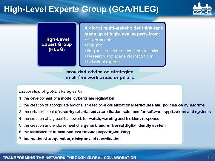 High-Level Experts Group (GCA/HLEG) High-Level Expert Group (HLEG) A global multi-stakeholder think-tank made up
