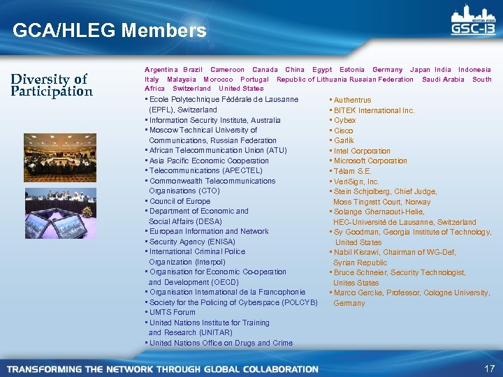 GCA/HLEG Members Diversity of Participation Argentina Brazil Cameroon Canada China Egypt Estonia Germany Japan