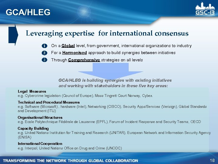 GCA/HLEG Leveraging expertise for international consensus 1 On a Global level, from government, international