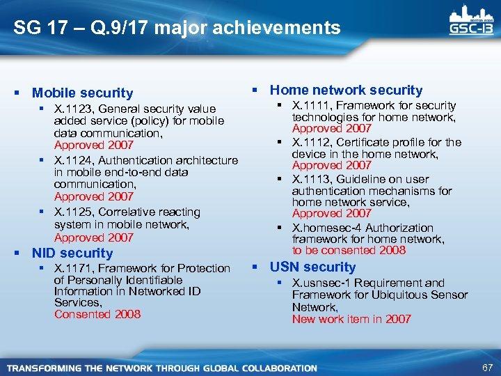 SG 17 – Q. 9/17 major achievements § Mobile security § X. 1123, General