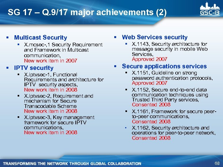 SG 17 – Q. 9/17 major achievements (2) § Multicast Security § X. mcsec-,