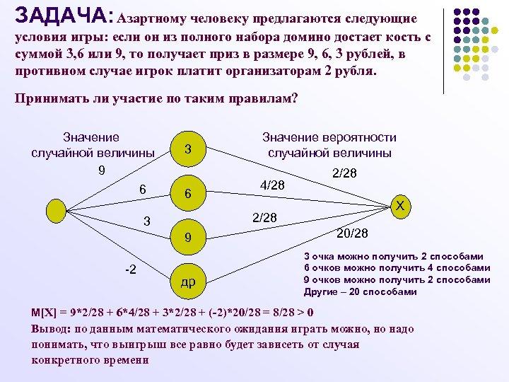 ЗАДАЧА: Азартному человеку предлагаются следующие условия игры: если он из полного набора домино достает