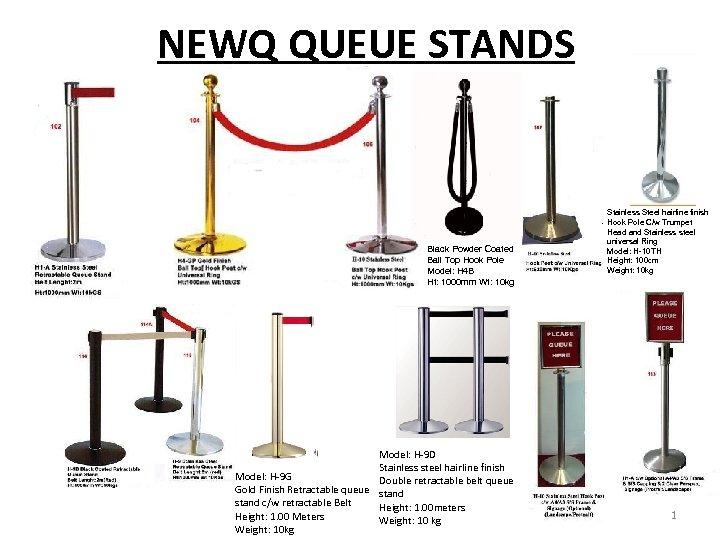 NEWQ QUEUE STANDS Black Powder Coated Ball Top Hook Pole Model: H 4 B