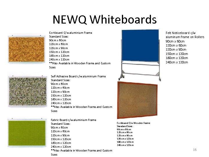 NEWQ Whiteboards Felt Noticeboard c/w aluminum frame on Rollers 90 cm x 60 cm