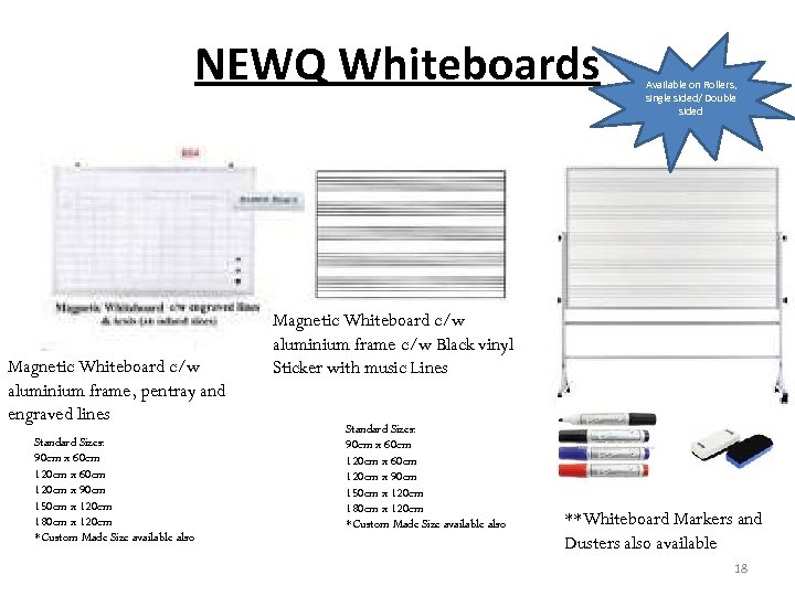 NEWQ Whiteboards Magnetic Whiteboard c/w aluminium frame, pentray and engraved lines Standard Sizes: 90