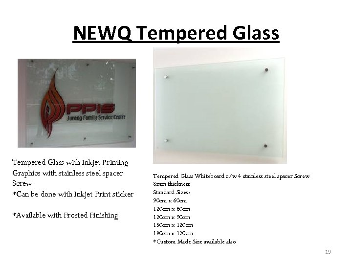 NEWQ Tempered Glass with Inkjet Printing Graphics with stainless steel spacer Screw *Can be