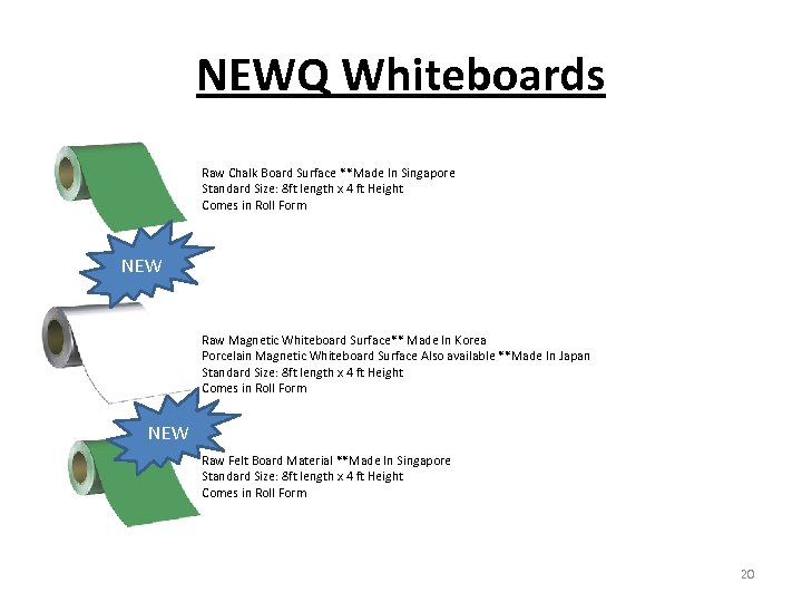 NEWQ Whiteboards Raw Chalk Board Surface **Made In Singapore Standard Size: 8 ft length