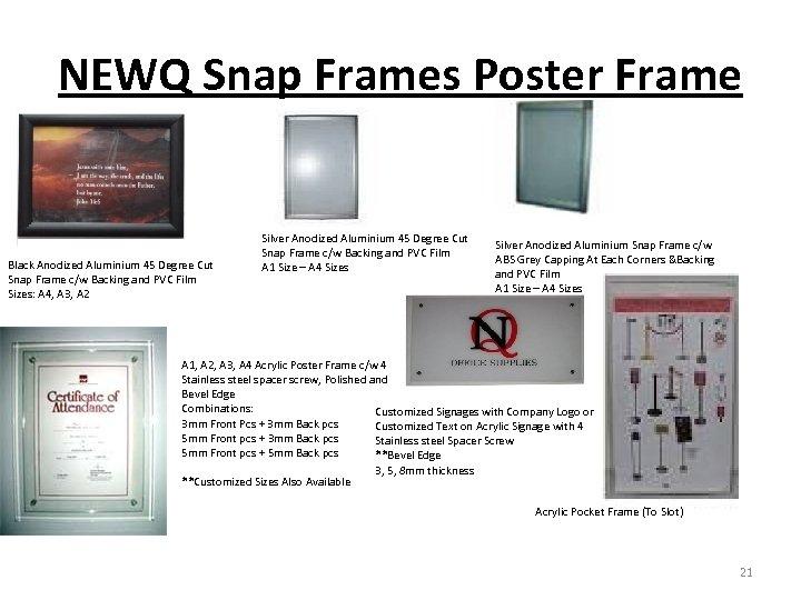 NEWQ Snap Frames Poster Frame Black Anodized Aluminium 45 Degree Cut Snap Frame c/w