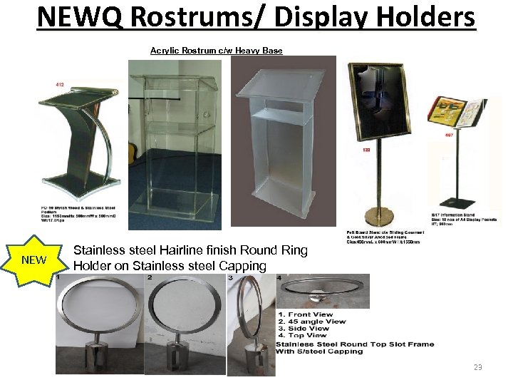 NEWQ Rostrums/ Display Holders Acrylic Rostrum c/w Heavy Base NEW Stainless steel Hairline finish
