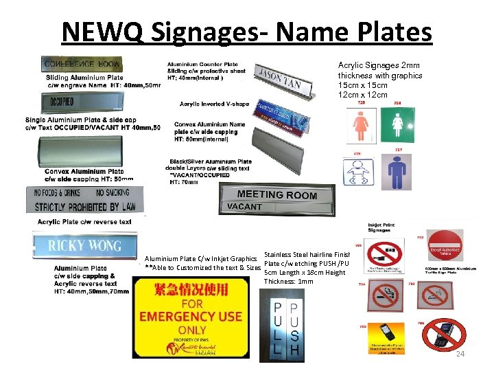 NEWQ Signages- Name Plates Acrylic Signages 2 mm thickness with graphics 15 cm x