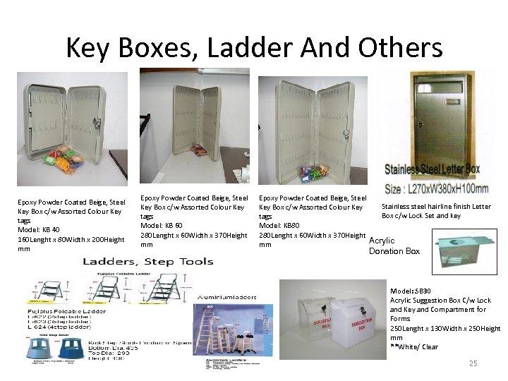 Key Boxes, Ladder And Others Epoxy Powder Coated Beige, Steel Key Box c/w Assorted