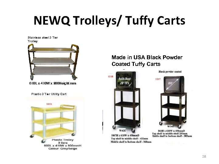 NEWQ Trolleys/ Tuffy Carts Stainless steel 3 Tier Trolley Made in USA Black Powder