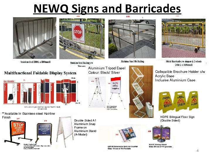 NEWQ Signs and Barricades Aluminium Tripod Easel Colour: Black/ Silver **Available In Stainless steel