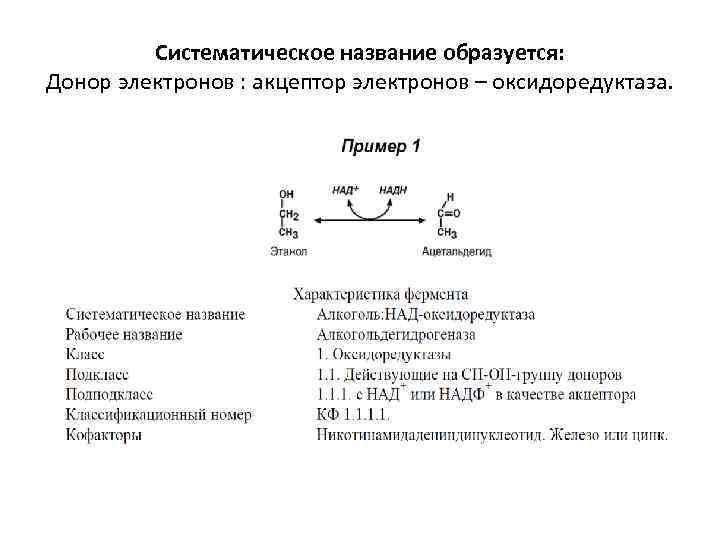 Систематическое название образуется: Донор электронов : акцептор электронов – оксидоредуктаза.