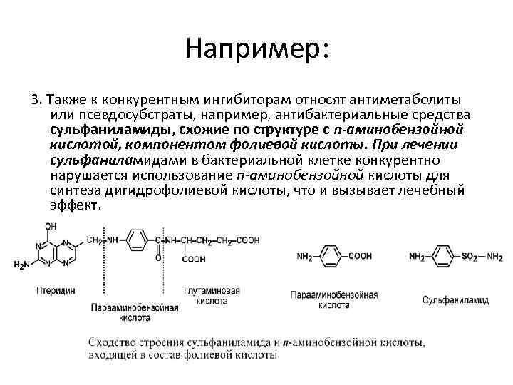 Например: 3. Также к конкурентным ингибиторам относят антиметаболиты или псевдосубстраты, например, антибактериальные средства сульфаниламиды,