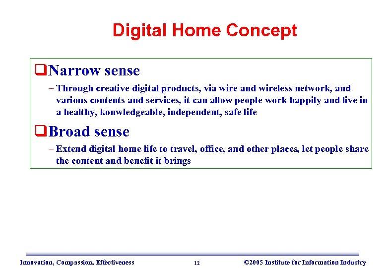 Digital Home Concept q. Narrow sense – Through creative digital products, via wire and