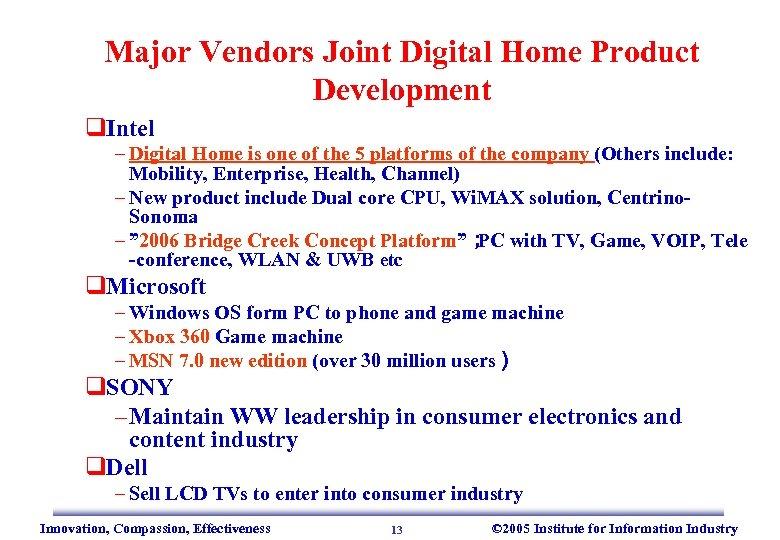 Major Vendors Joint Digital Home Product Development q. Intel – Digital Home is one