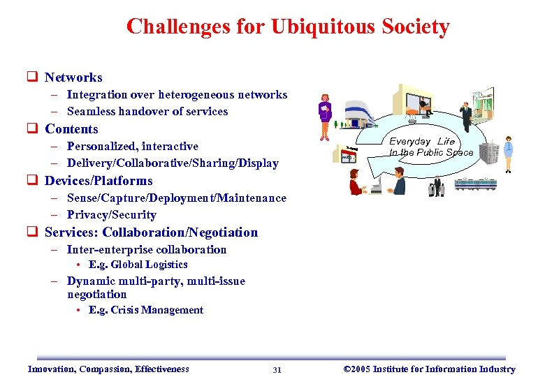 Challenges for Ubiquitous Society q Networks – Integration over heterogeneous networks – Seamless handover