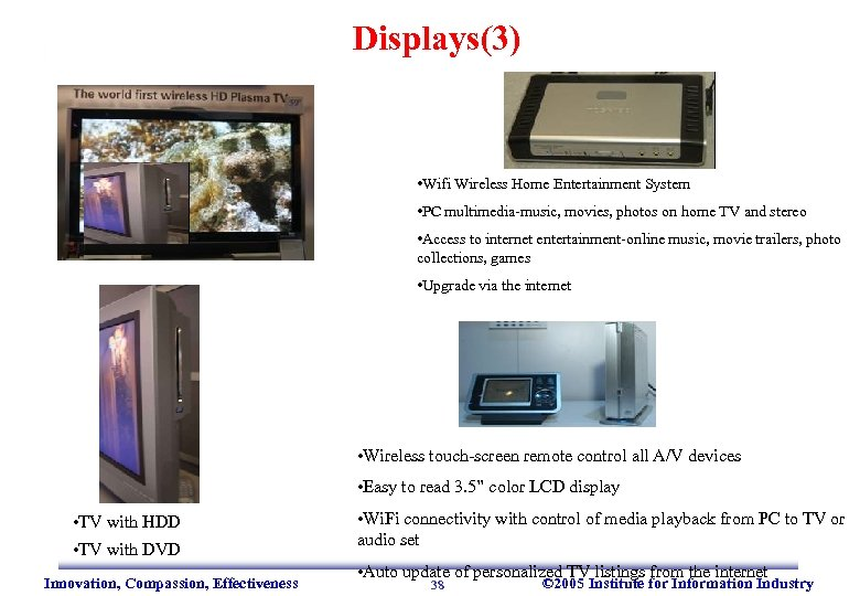 Displays(3) • Wifi Wireless Home Entertainment System • PC multimedia-music, movies, photos on home